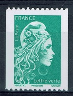 """France, Marianne, """"l'engagée"""", Green Letter, Coil Stamp, Black Number On The Reverse, 2018, MNH VF - 2018-... Marianne L'Engagée"""