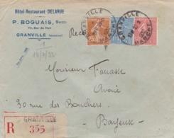 Divers Semeuse Sur Lettre Recommandée à Entête Hotel Restaurant Delarue Granville - Postmark Collection (Covers)