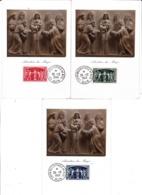 Série Anniversaire De L'UPU  850 à 852 Sur Carte Maximum Du 25 12 1949 - Cartes-Maximum