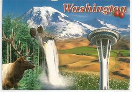 Mt Rainier 4,392 M, Mt St Helens Volcan 2,549 M, Carte Postale Washington Adressée Andorra,avec Timbre à Date Arrivée - Alpinisme