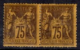France Sage YT N° 99 En Paire Neufs *. Gomme D'origine. B/TB. A Saisir! - 1876-1898 Sage (Type II)