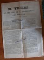 M. THIERS  AUX ELECTEURS DU 9ème Arrondissement De PARIS Imprimeur Charles SCHILLER 4 Pages   1 - Documents Historiques