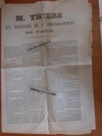 M. THIERS  AUX ELECTEURS DU 9ème Arrondissement De PARIS Imprimeur Charles SCHILLER 4 Pages   2 - Documents Historiques