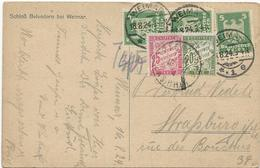 CARTE POSTALE D'ALLEMAGNE1924 A DESTINATION DE STRASBOURG TAXEE A 45 CT AVEC 2 TIMBRES TAXE - Postmark Collection (Covers)