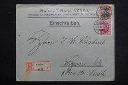 ALLEMAGNE - Enveloppe Commerciale En Recommandé De Crefeld Pour Lyon En 1908 , Affranchissement Plaisant - L 25436 - Deutschland
