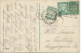 CARTE POSTALE D'ALLEMAGNE1925 A DESTINATION DE STRASBOURG TAXEE A 45 CT AVEC UN TIMBRE TAXE - Postmark Collection (Covers)