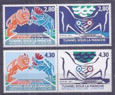 Francia 1994. YT = 2880-83 - Nuevos Sin Fijasellos (**). Tunel Bajo El Canal - Francia