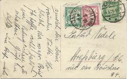 CARTE POSTALE D'ALLEMAGNE1926 A DESTINATION DE STRASBOURG TAXEE A 1 FR AVEC 2 TIMBRES TAXE - Postmark Collection (Covers)