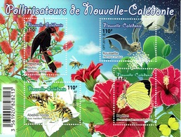 New Caledonia, Pollinators, 2018, MNH VF  Superb Souvenir Sheet Of 4 - Nouvelle-Calédonie