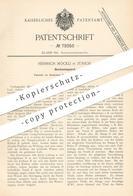 Original Patent - Heinrich Möckli , Zürich , 1894 , Bierdruckapparat   Bier - Zapfanlage   Pumpe , Pumpen !!! - Historische Dokumente