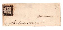 FRANCE -- Fragment D'enveloppe -- Timbre Taxe 15 C.noir Oblitéré Quatre Fois OR Dans Un Petit Cercle - France