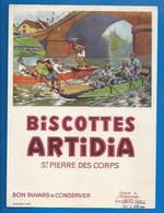 37 - SAINT-PIERRE-DES-CORPS - BUVARD - BISCOTTES ARTIDIA - JOUTES FLUVIALES - Biscottes