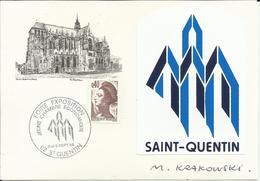 Saint-Quentin (02) - Carte Illustrée Avec Timbre à Date évènementiel Des 8 Et 9 Septembre 1984 - Marcophilie (Lettres)