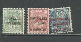 NOUVELLES HEBRIDES Scott F1, F7, F18 Yvert 1**, 16, 17 (3) ** Et *  Cote 9,25 $ 1908-10 - Légende Française