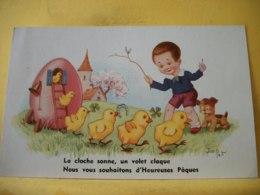 B20 9649 CPA - LA CLOCHE SONNE, UN VOLET CLAQUE. NOUS VOUS SOUHAITONS D'HEUREUSES PAQUES PAR JIM PATT. - Easter