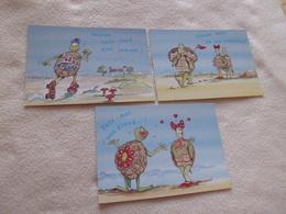 LOT DE 3 ILLUSTRATIONS HUMORISTIQUES ..MESSAGES...TORTUES - Humour