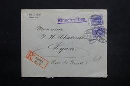 ALLEMAGNE - Enveloppe Commerciale En Recommandé De Crefeld Pour La France En 1909, Affranchissement Plaisant - L 25448 - Deutschland