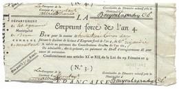 EMPRUNT FORCE DE L'AN 4 De 33 Livres... Municipalité De Born Commune De Montaut (Lot-et-Garonne) - Actions & Titres