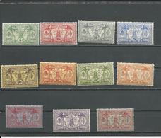 NOUVELLES HEBRIDES Scott F11-F21 Yvert 27-37 (11) *  Cote 80,00 $ 1911-12 Avec Filigrane - Légende Française