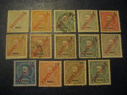MACAU 1911 Yvert 149/61 + 163 (14 Stamp (4 Cancel) Cat. Year 2008: 85,75 Eur Aprox.) Macao Portugal China Area - Macau
