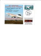 Enveloppe 50e Anniversaire 1er Vol Du Concorde Timbre Poste Aérienne - Airmail