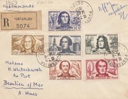 LETTRE. SERIE PERSONNAGES 1959. RECOMMANDE DE PONTARLIER POUR BEAULIEU SUR MER   /  3 - Postmark Collection (Covers)