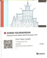 Ticket D'entrée - Norsk Folkemuseum - Oslo 13-02-2019 - [ill. Gol Stavkirke / Stabkirche / Stave Church / église] - Tickets D'entrée