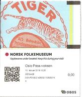 Ticket D'entrée - Norsk Folkemuseum - Oslo 13-02-2019 -[ill. Publicité Tiger Petroleumscompany / Werbung / Advertising]] - Tickets D'entrée