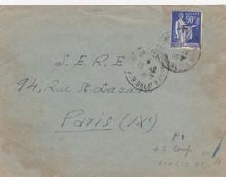 LETTRE. DEVANT. FRANCHISE N° 10. CAMP D'ARGELES, REFUGIES ESPAGNOLS. POUR PARIS  /  3 - 1921-1960: Moderne