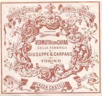 """07734 """"VERMOUTH CON CHINA DELLA FABBRICA DI GIUSEPPE B. CARPANO - TORINO """" ETICH. ORIG. - Etichette"""