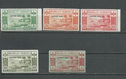 NOUVELLES HEBRIDES Scott FJ6-FJ10 Yvert Taxe 11-15 (5) ** Petite Déchirure Sur Le 1F Voir Scan  Cote 105,00 $ 1938 - Légende Française
