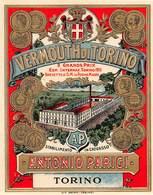 "07735 ""VERMOUTH DI TORINO - ANTONIO PARIGI - TORINO "" ETICH. ORIG. - Etichette"