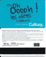 Carte Cadeau - Cultura - Verso 5 € - GIFT CARD /GESCHENKKARTE - Cartes Cadeaux