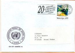 """Nations Unies, Lettre De Genève, Flamme """"20 Ans De L'administration Postale"""" - Genf - Büro Der Vereinten Nationen"""