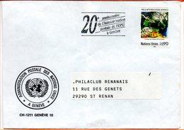 """Nations Unies, Lettre De Genève, Flamme """"20 Ans De L'administration Postale"""" - Briefe U. Dokumente"""