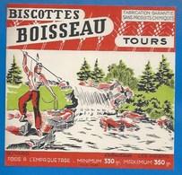 37 - TOURS - BUVARD ILLUSTRÉ - BISCOTTES BOISSEAU - LES INDIENS - PECHE - - Biscottes
