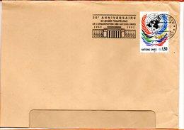 """Nations Unies, Lettre De Genève, Flamme """"40 Ans """"30e Anniversaire Du Musée Philatélique"""" - Genf - Büro Der Vereinten Nationen"""