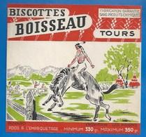 37 - TOURS - BUVARD ILLUSTRÉ - BISCOTTES BOISSEAU - LES INDIENS - DRESSAGE  DU MUSTANG - Biscottes