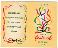 Calendrier 1954 Festival Cheramy Paris Parfum Parfumeur Parfumerie Romainville Madeleine Maroquinerie Parfumerie - Autres
