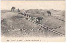POSTAL    - SCÉNES ET TYPES   - DUNES DE SABLE ET MÉHARA - Postales