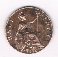 HALF PENNY 1916 GROOT-BRITANNIE /2409/ - 1902-1971: Postviktorianische Münzen