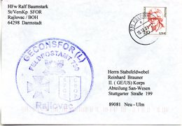 "(BWFP2) Cachet-Umschlag NATO BW SFOR GECONSFOR(L) FELDPOSTAMT 730 Rajlovac "" 15.10.01 FELDPOST 731 - BRD"