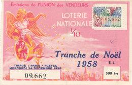 BL 20 / BILLET  LOTERIE NATIONALE    UNION DES VENDEURS  TRANCHE DE NOEL     1958 - Billets De Loterie
