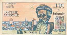 BL 25 / BILLET  LOTERIE NATIONALE   COMPTOIR DE LA CHANCE  TRANCHE DU 25° ANNIVERSAIRES 1958 - Billets De Loterie