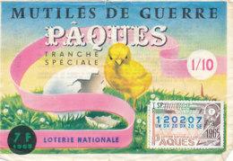 BL 28 / BILLET  LOTERIE NATIONALE  MUTILES DE GUERRE  PAQUES 1965 - Billets De Loterie