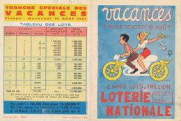 BL 31 / BILLET  LOTERIE NATIONALE  PUB  VACANCES  MERCREDI 10 AOUT 1966 - Billets De Loterie