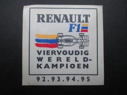 VP AUTOCOLLANT (M1905) AUTOMOBILE RENAULT F1 (1 VUE) VIERVOUDIG WERELD-KAMPIOEN 92 - 93 - 94 - 95 - Autocollants