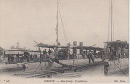 """CPA Bizerte - Baie-Ponty - Torpilleurs - Cachet Au Verso """"Service à La Mer"""" Encre Bleue - Guerre"""