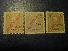 MACAU 1913 Yvert 206 + 208/9 (3 Stamp (1 Cancel) Cat. Year 2008: 58 Eur) Macao Portugal China Area - Macao
