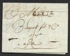 Herault-Lettre Avec Marque Linéaire 33 CETTE (33*13)-Pour Agde - Marcophilie (Lettres)